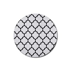 Tile1 Black Marble & White Linen Rubber Round Coaster (4 Pack)