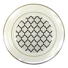 Tile1 Black Marble & White Linen Porcelain Plates