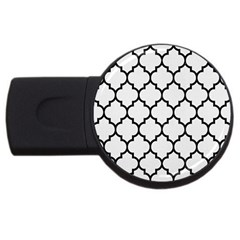 Tile1 Black Marble & White Linen Usb Flash Drive Round (4 Gb)