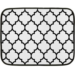 Tile1 Black Marble & White Linen Double Sided Fleece Blanket (mini)