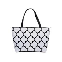 Tile1 Black Marble & White Linen Shoulder Handbags