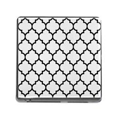 Tile1 Black Marble & White Linen Memory Card Reader (square)