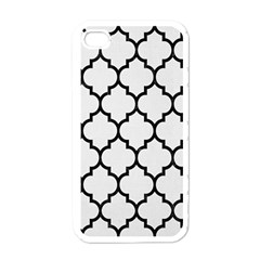 Tile1 Black Marble & White Linen Apple Iphone 4 Case (white)