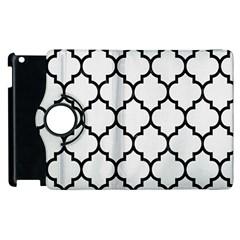 Tile1 Black Marble & White Linen Apple Ipad 2 Flip 360 Case