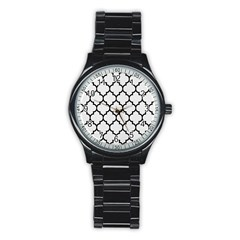 Tile1 Black Marble & White Linen Stainless Steel Round Watch