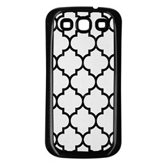 Tile1 Black Marble & White Linen Samsung Galaxy S3 Back Case (black)