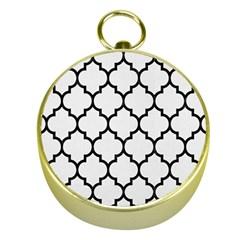 Tile1 Black Marble & White Linen Gold Compasses