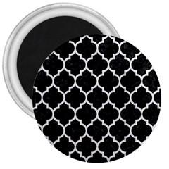 Tile1 Black Marble & White Linen (r) 3  Magnets