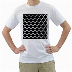Tile1 Black Marble & White Linen (r) Men s T Shirt (white) (two Sided)