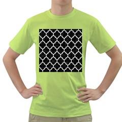 Tile1 Black Marble & White Linen (r) Green T Shirt