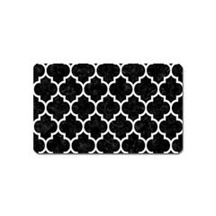 Tile1 Black Marble & White Linen (r) Magnet (name Card)