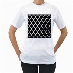 Tile1 Black Marble & White Linen (r) Women s T Shirt (white)