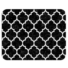 Tile1 Black Marble & White Linen (r) Double Sided Flano Blanket (medium)