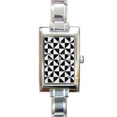 Triangle1 Black Marble & White Linen Rectangle Italian Charm Watch