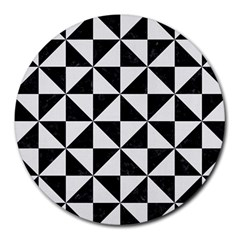Triangle1 Black Marble & White Linen Round Mousepads