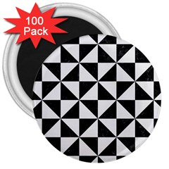 Triangle1 Black Marble & White Linen 3  Magnets (100 Pack)