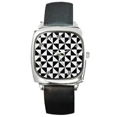 Triangle1 Black Marble & White Linen Square Metal Watch