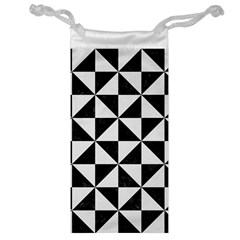Triangle1 Black Marble & White Linen Jewelry Bag