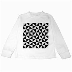 Triangle1 Black Marble & White Linen Kids Long Sleeve T Shirts