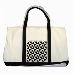 Triangle1 Black Marble & White Linen Two Tone Tote Bag