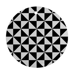 Triangle1 Black Marble & White Linen Round Ornament (two Sides)