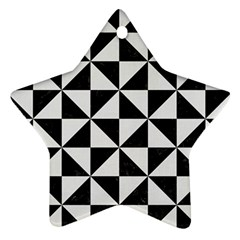 Triangle1 Black Marble & White Linen Star Ornament (two Sides)