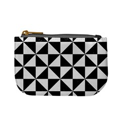 Triangle1 Black Marble & White Linen Mini Coin Purses