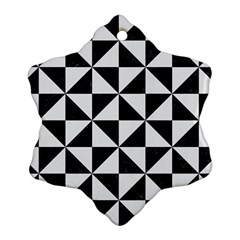 Triangle1 Black Marble & White Linen Snowflake Ornament (two Sides)