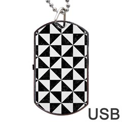 Triangle1 Black Marble & White Linen Dog Tag Usb Flash (two Sides)