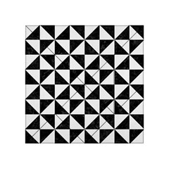 Triangle1 Black Marble & White Linen Acrylic Tangram Puzzle (4  X 4 )