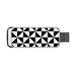 Triangle1 Black Marble & White Linen Portable Usb Flash (two Sides)