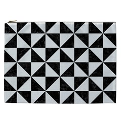 Triangle1 Black Marble & White Linen Cosmetic Bag (xxl)