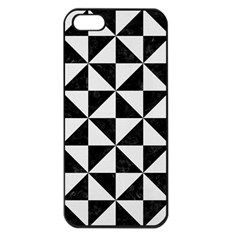 Triangle1 Black Marble & White Linen Apple Iphone 5 Seamless Case (black)