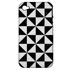 Triangle1 Black Marble & White Linen Apple Iphone 4/4s Hardshell Case (pc+silicone)