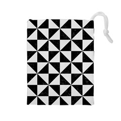 Triangle1 Black Marble & White Linen Drawstring Pouches (large)