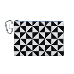Triangle1 Black Marble & White Linen Canvas Cosmetic Bag (m)