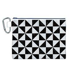 Triangle1 Black Marble & White Linen Canvas Cosmetic Bag (l)