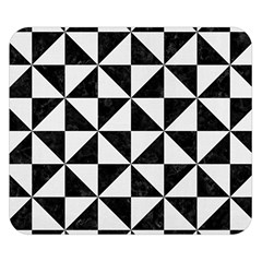 Triangle1 Black Marble & White Linen Double Sided Flano Blanket (small)