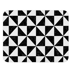 Triangle1 Black Marble & White Linen Double Sided Flano Blanket (large)