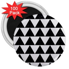 Triangle2 Black Marble & White Linen 3  Magnets (100 Pack)