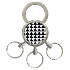 Triangle2 Black Marble & White Linen 3 Ring Key Chains