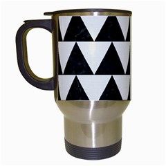 Triangle2 Black Marble & White Linen Travel Mugs (white)