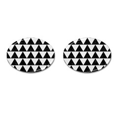 Triangle2 Black Marble & White Linen Cufflinks (oval)