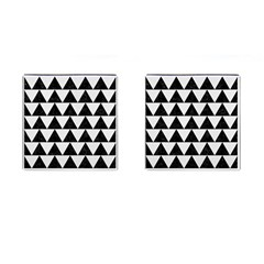 Triangle2 Black Marble & White Linen Cufflinks (square)