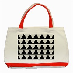 Triangle2 Black Marble & White Linen Classic Tote Bag (red)