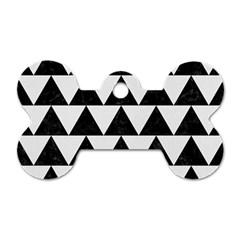 Triangle2 Black Marble & White Linen Dog Tag Bone (one Side)