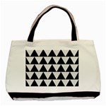 TRIANGLE2 BLACK MARBLE & WHITE LINEN Basic Tote Bag (Two Sides) Front