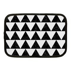 Triangle2 Black Marble & White Linen Netbook Case (medium)