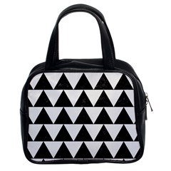 Triangle2 Black Marble & White Linen Classic Handbags (2 Sides)