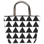 TRIANGLE2 BLACK MARBLE & WHITE LINEN Bucket Bags Back